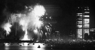 New York City celebrates the Declaration of Independence bicentennial anniversary, on July 4, 1976. The display ended a day of festivities in the New York Harbor, with boats and tall ships from across the world gathered for Operation Sail. AP