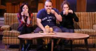 Abby Lee, Justino Brokaw, and Tara Chiusano in the IU Theatre's production of Vanya and Sonia and Masha and Spike