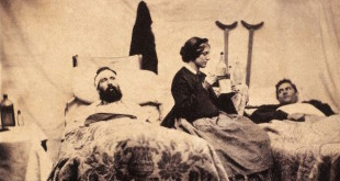 ca. 1861-1865, Nashville, Tennessee, Confederate States of America --- Two wounded Federal soldiers are cared for by Anne Bell, a nurse during the American Civil War. --- Image by © CORBIS