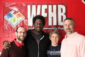 Guest W. Kamau Bell with WFHB General Manager Cleveland Dietz, Interchange host Trish Kerle, and Interchange producer Doug Storm.