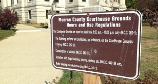 Monroe County passed an ordinance in 2013 to set hours for use of the Courthouse lawn. The stated goal was to prohibit people from sleeping there.