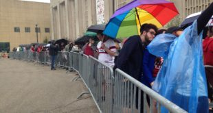 Bernie Sanders supporters waiting in line about 2 p.m. on April 27th outside the IU Auditorium. (Photo by Joe Crawford)