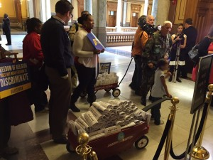 Freedom Indiana delivered thousands of letters opposing Senate Bill 101 just hours before the House of Representatives voted to pass the bill. Photo courtesy of Freedom Indiana.