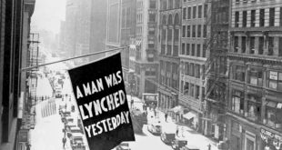 Anti-lynching banner flew outside NAACP headquarters in midtown Manhattan from the early 1900s until 1938. (LIBRARY OF CONGRESS/COURTESY OF THE NAACP)