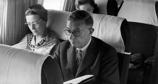 Sartre and Beauvoir on a plane in Brazil.